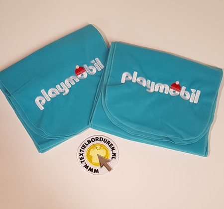 fleece buff geborduurd Playmobil